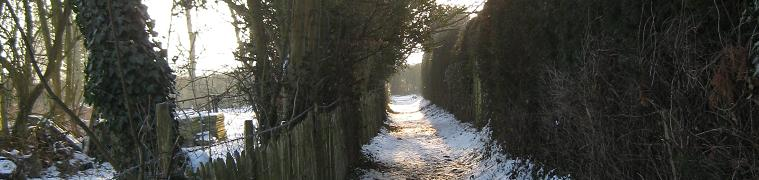 Bridleway in snow Vicarge Lane, East Farleigh - Photo by Louise Francis