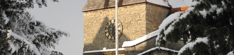 East Farleigh Church clock under snow